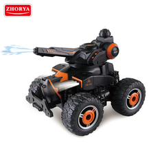 Zhorya big wheel waterproof plastic battery operated remote control rc toy amphibious spray water shotting chariot car