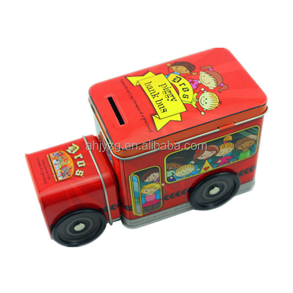 bus shaped promotion with cute picture tin box