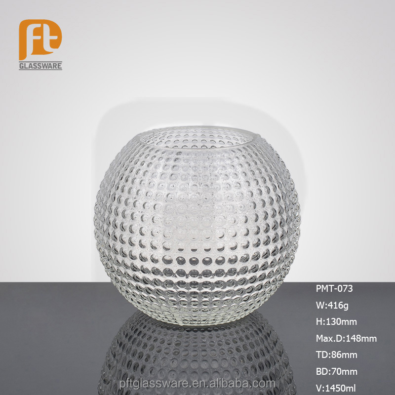 Hand blown simple round ball shaped hand held clear glass candle holder for wedding decor & home decoration