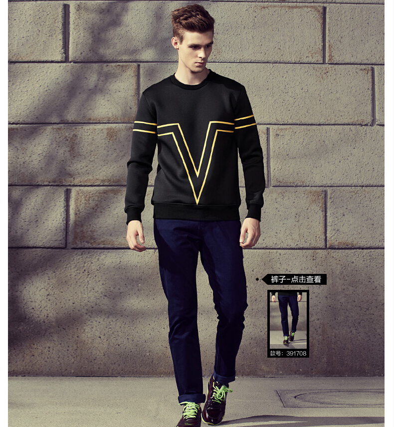 1Gentlemen's round collar long sleeve pullover thickens maintains warmth crew neck for Atumn season,fom Guangzhou