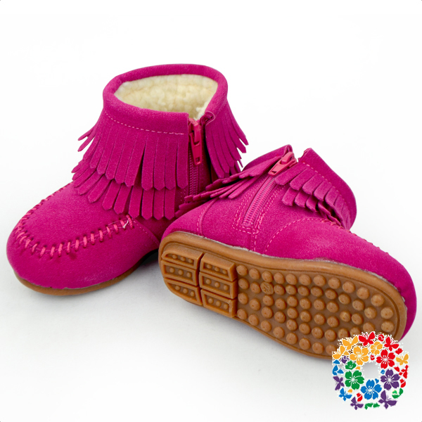 Hot Pink Baby Girl Winter Shoes Kids Shoes With Zipper Children Cheap Winter Shoes Size From 21-30
