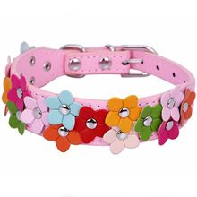 Flower Studded Leather Dog Collar Pink Pet Collars