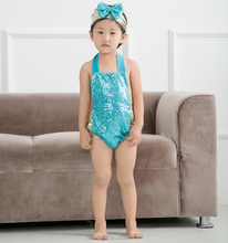 Wholesale sequin rompers for girls, little mermaid costume