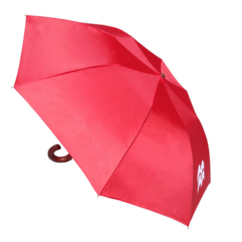 Two fold curved wooden handle umbrella XD-805