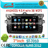 Factory Android 4.0 Central Multimedia Player for Toyota Corolla/Auris with GPS/BT/DVD/ATV/FM/AM/RDS/3G/WIFI/USB fast delivery