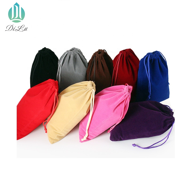 Custom logo printed promotional stamping drawstring small velvet pouch Gift bags for Crystal glass ball gift package