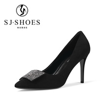 5547 Special design black dress suede shoes womens diamond high heel shoes