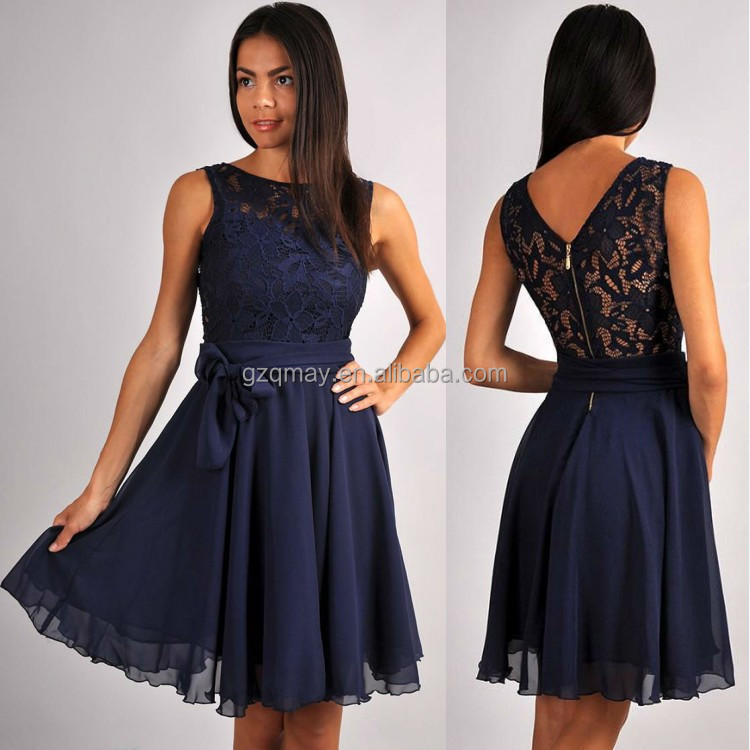 2017 China Manufacturer Guangzhou Wholesale Elegant Custom Made Knee Length Scoop Neck Lace Chiffon Navy Blue Bridesmaid Dress