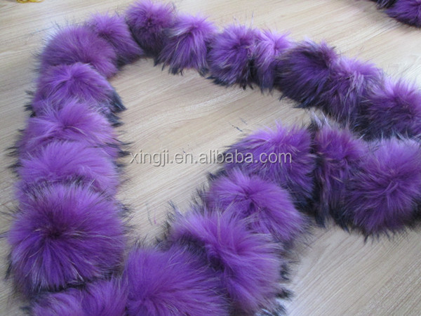 Dyed different colors fur pompon
