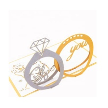 2019 popular sales wedding ring <strong>card</strong> with folk art cuttings