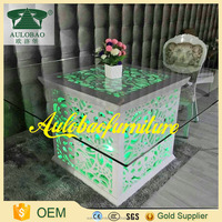 New style banquet wood glass center table with aluminum chairs