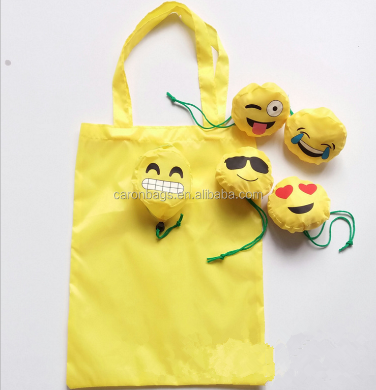 custom smile face emoji yellow polyester foldable shopping tote bag