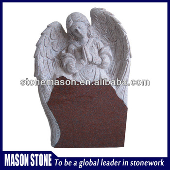 Art funeral red granite angel monument for cemetery