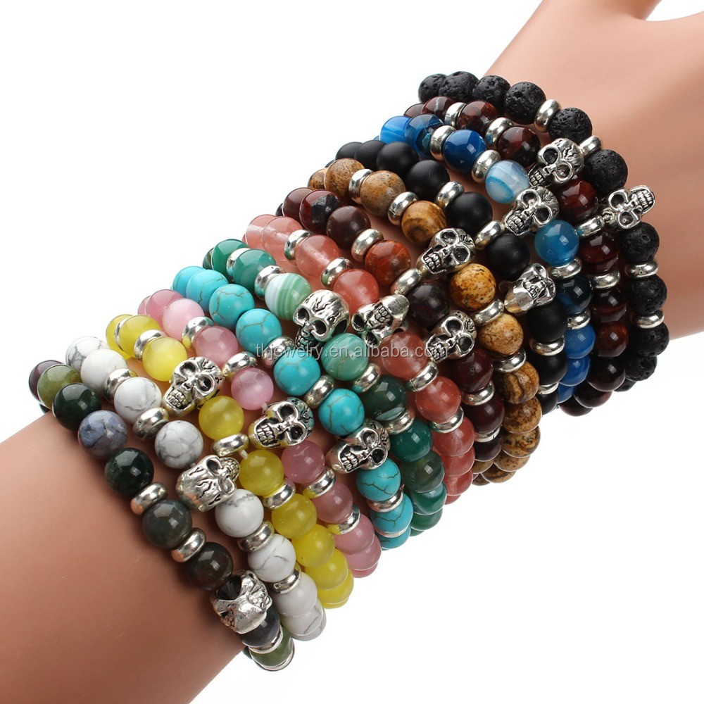 Fashion Handmade Colorful Gemstone Beads Yoga Bracelet With Skull Healing Men Bracelet Wholesale