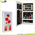 Rose painting wall mount cabinet with glass
