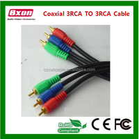 High quality metal casing RCA cable,3RCA-3RCA,component cable