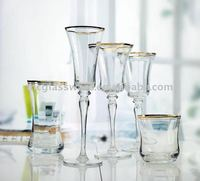 handmade unique and newly developed clear ribbed wine glass with gold rim