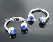 china circular barbell with crystal ball,body piercing jewelry