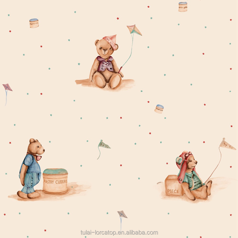 Eco-friendly bear pattern non woven wallpaper base paper for kids and children