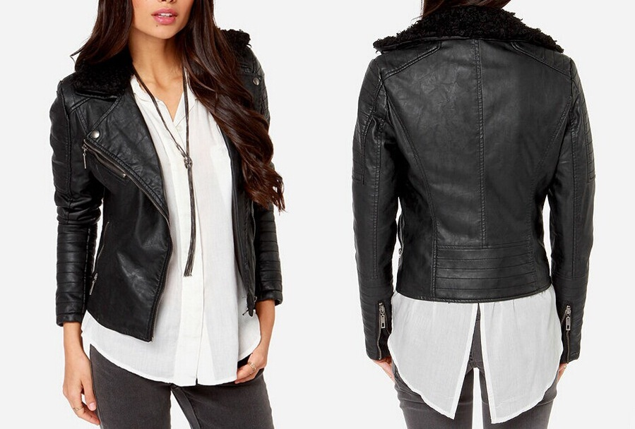 Women Fashion Cheap Faux Leather Motorcycle Jacket - Buy ...