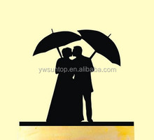 Couple with Umbrella Acrylic Cake Topper Bride and Groom Cake Topper