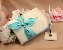 Tiffany blue butterfly tie guest book signature book and pen holder