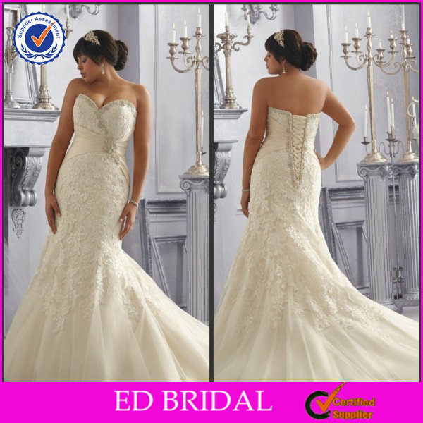 EDW510 Beautiful Sweetheart Lace Appliqued Crystal Trumpet Wedding Gowns for Fat Bride