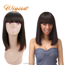Top Grade 12 inch full lace front human hair wig with baby hair,indian hairstyle wig with bangs for black women