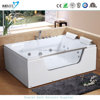 luxury 2 person glass window stainless steel skirt whirlpool massage bathtub
