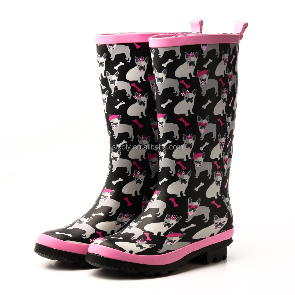 nature rubber fashion rain boots for lady or young women with dog printing