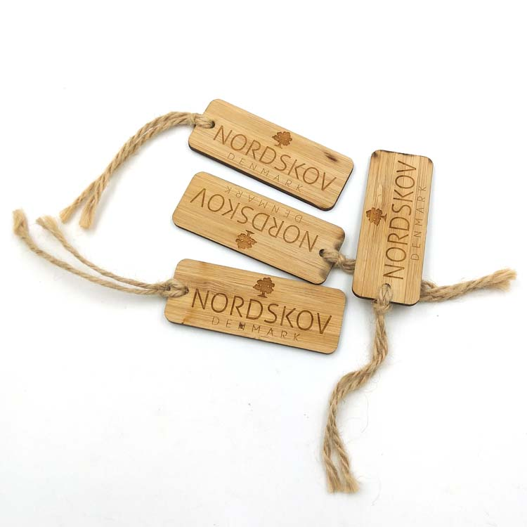 laser wood tag with a jute rope custom wooden tag for clothing