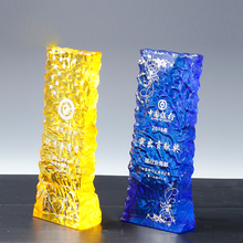 Colored 3d laser cut crystal trophy cup awards home decoration business souvenir 3D laser crystal