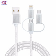 High quality Stable voltage and quick charge multi function data transfer cable usb 3-in-1 with FDY Nylon braided