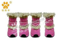 2013 JML Winter Warm Dog Boots, Fleece Lined rubber Dog Boots,Dog boots for Snow&Rainy day, XA1124,Pink color