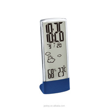 crystal large LCD display metal clock show weather temp humidity multifunction weather station