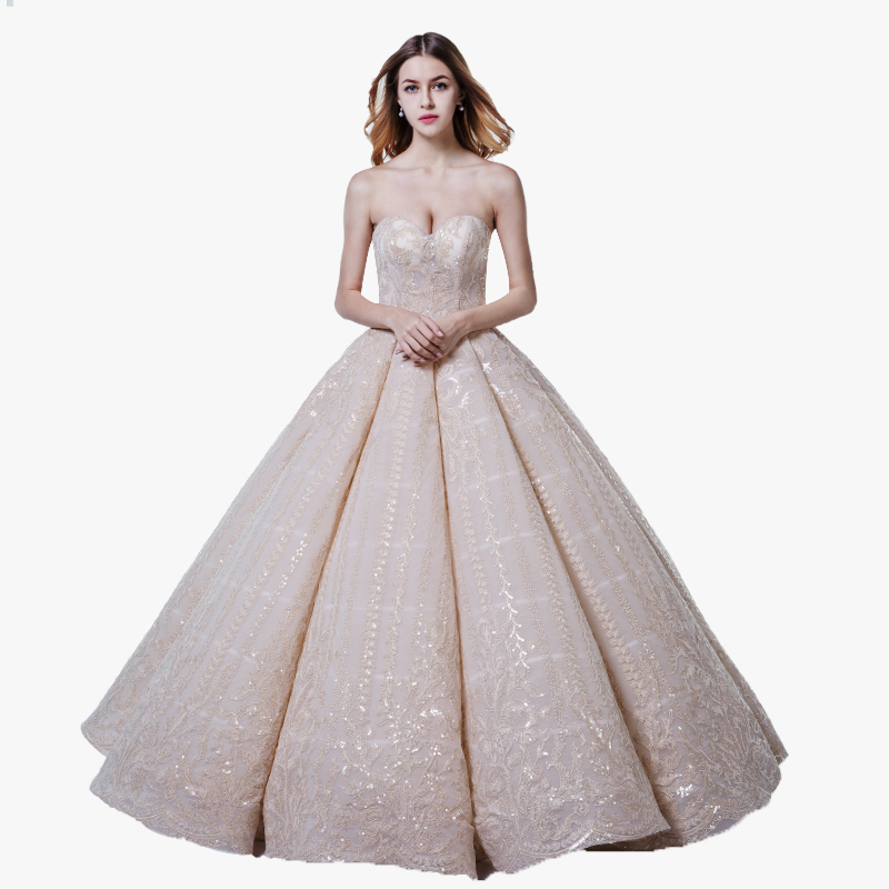 Latest Wedding Gown Designs Bling Bling Luxury Puffy Champagne Wedding Dress Bridal Gowns