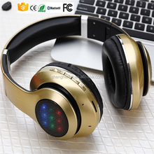 New arrival adjustable OEM logo printing ODM design LED flashing wireless headset for mp3 or mobile phones