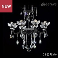 Profesional china wholesale 8 lights zinc alloy black chandelier for restaurant