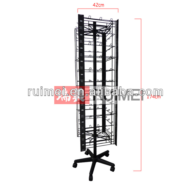 4 side spinning merchandise display stand with hooks