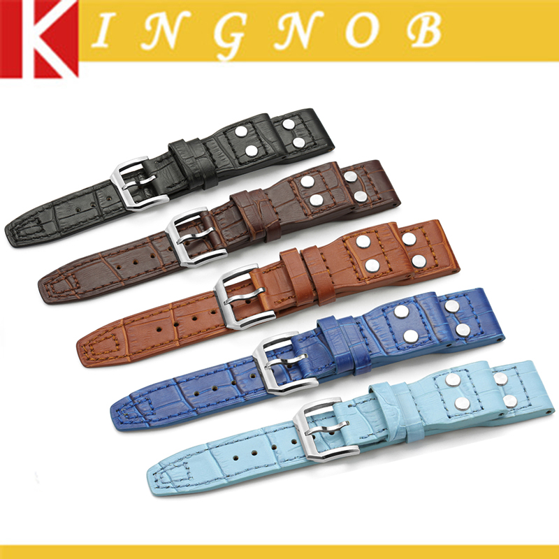 Black Brown Blue Croco Grain 22mm Italian Genuine Leather Rivet Watch Band Strap Belt with With Pin buckle For IWC Big Pilot