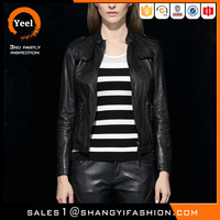 YEEL spring and autumn elegant windproof lady leather leaf jacket