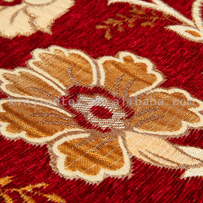 Polyester hot selling floral chenille jacquard sofa fabric fire retardant fabric of anti bacterial
