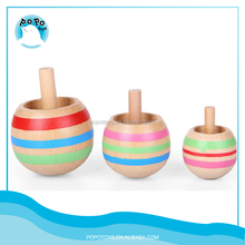 2015 new design wooden promotional spinning tops