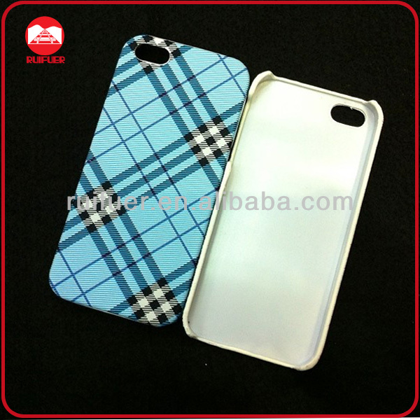 Custom Plastic Snap On Hard Fabric Phone Case Cover for Iphone 4 4S