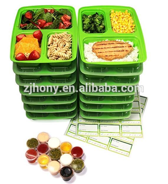 14-Pack 3 Compartment Meal Prep Containers with Lids, 1oz Leak Proof Sauce Cups & Labels Set. Microwave & Dishwasher Safe, BPA F