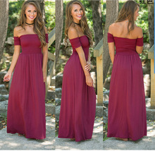 Hot sale off shoulder long dress women wine red high waist pleated maxi dress pure color cotton elegant dress