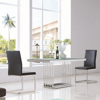 Stainless Steel Glass Dining Table Set