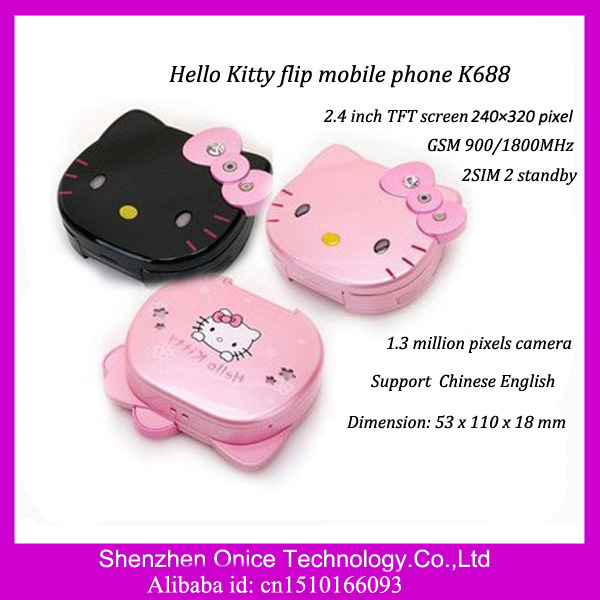 cute 2.4inch 240X320pixel Hello Kitty flip phone K688 Dual SIM Card Dual Standby GSM phone
