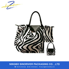 600 D ployster Black & White Zebra Foldable Shopping Tote Bag