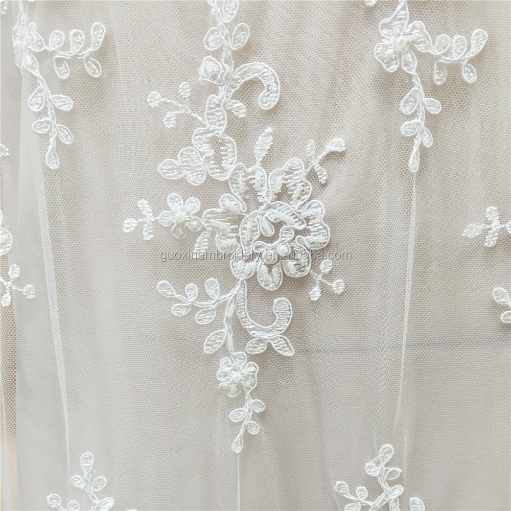 Bridal Beaded LACE Fabric by the Yard Embroidered rayon Fabric Iridescent Fabric Wedding hand made beads Dress Fabric